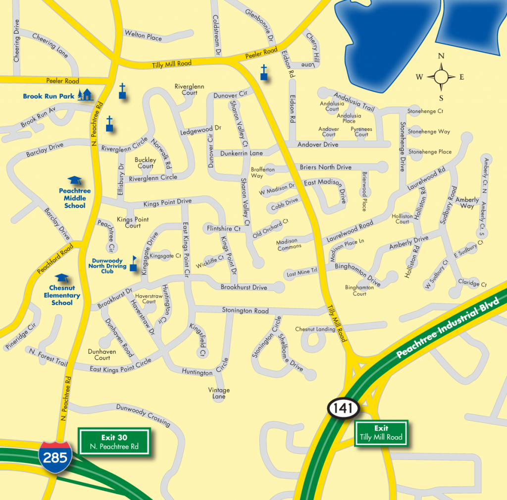 Location of Dunwoody North Map - Just North East of Metro Atlanta (click to open a larger map in a new window)