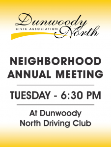 Dunwoody North meeting sign
